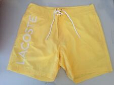 New Lacoste Mens Yellow Logo Board Swim Trunks / Shorts Size L - Free Shipping
