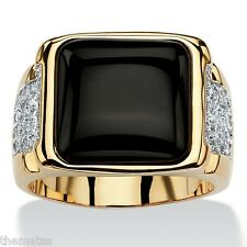 MENS 14K YELLOW GOLD BLACK ONYX CZ CABOCHON RING SIZE 8,9,10,11,12,13,