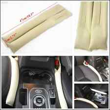 Beige Artificial Leather Car Seat Gap Filler Soft Pad Stop Blocker Beige Holster