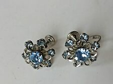 Silver plate BLUE Crystal STONES FLORAL DESIGN SCREW BACK EARRINGS Daisy