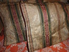 CROSCILL DOVER MANOR DUNHILL (PAIR) KING PILLOW SHAMS GREEN BURGUNDY