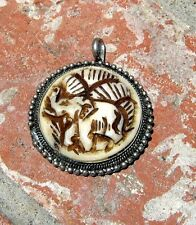 UNIQUE HAND CARVED COW BONE GOOD LUCK ELEPHANT & SILVER PENDANT NEPAL FREE SHIP