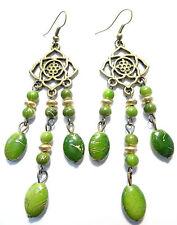 Boucles d'Oreilles Ethnique Bijoux Bohème Métal Inde Indiennes vert hippie