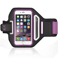 "iPhone 6/6S Plus 5.5"" Purple Lycra Armband Running Reflective CreditCard Holder"