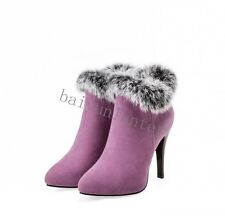 Sexy Lady Pointed Toe High Heel Zipper Fur Trim Ankle Boots Party Shoes Plus Sz