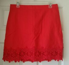 J Crew Factory lace-trim mini skirt size 8 Red #E8883 Lined