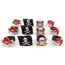 Lot of 12 Rubber Pirate Rings Skull & Crossbones Party Favors Cupcake Decoration