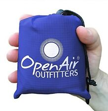 OpenAir Outfitters 2-in-1 Pocket Blanket/Rain Poncho-100% Waterproof (BLUE/GRAY)