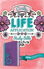 NLT GIRLS LIFE APPLICATION STUDY BIBLE LEATHERLIKE PURPLE/GREEN/PINK FLORAL NEW