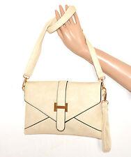 BORSELLO BEIGE AVORIO ORO donna borsa borsetta pochette pelle tracolla bag A20
