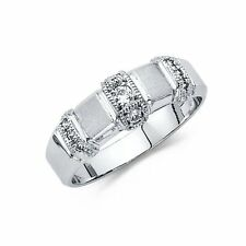 Men's Solid 14k White Gold Man Made Diamond Wedding Band Ring
