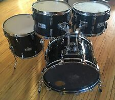 Vintage 1980's Rogers R-380 4pc Drum Kit Shell Pack Black
