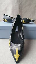 New Prada Graphic Arrow Graffiti Pointy Toe Flats 37.5 Logo Print Leather Shoes