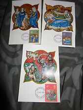 3 X 1970 CAMEO STAMPS CHRISTMAS LISLE PSALTER FDI  First Day Issue postcards