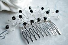 Handmade - Black & Clear AB Crystal Silver Comb Slide