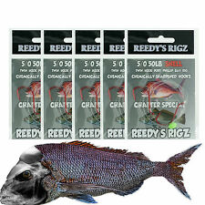 5 Snapper Rigs 6/0 Suicide Fishing Hook Rig Snell Tied 50Lb Leader Big Bait Red