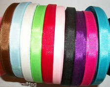 10 meters of 10mm wide Grosgrain Ribbon Plain Colours Off Cuts Bundle