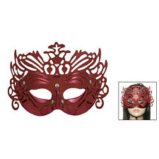 Ladies Glittery Powder Plastic Masquerade Mardi Gras Party Mask Red New