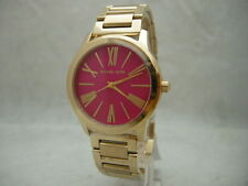 Authentic Michael Kors MK3520 Hartman Pink Dial Women's Gold Bracelet Watch