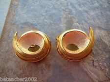 Vintage Crown Trifari Swirl Button Owl Eyes Clip Earrings