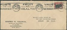 South Africa 1928 cover to USA with XF FRUIT FOR HEALTH slogan