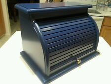 HAND CRAFTED SOLID PINE ROLL TOP BREADBOX FINISHED IN NAVY BLUE