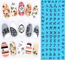Black Letters Flowers Bows Butterfly Water Transfers Nail Art Stickers Decals