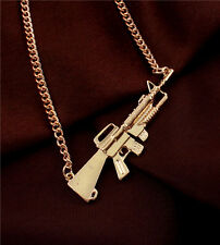 New Women Fashion Jewelry Gift Gold Plated Alloy Long Gun Pendant Chain Necklace