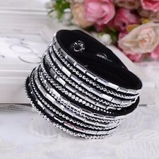 LOVELY LEATHER Slake BRACELET MADE WITH SWAROVSKI CRYSTALS -BLACK CLEAR - NEW