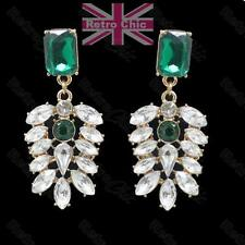 BIG vintage style EARRINGS rhinestone EMERALD FAUX GEM white/green/gold pltd