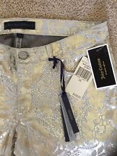 NWT $498 JUICY COUTURE Black Label Brocade Gold/Embellished Skinny Jeans*28