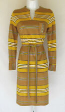 VINTAGE 1960s MOD DRESS POLY BELT GOLD BUTTONS STRIPE BRONZE YELLOW BLACK WHITE