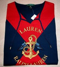 New Ralph Lauren Women's Nautical Shirt. Big Logo. Navy/Red. Size L. $59.50