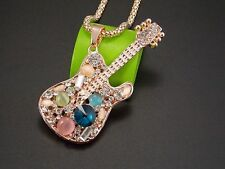 Gold-plated jewelry!Shiny crystal gem guitar pendant Necklace-fdsdf