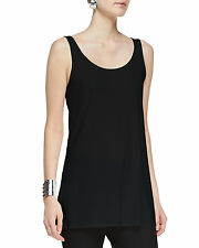 NEW EILEEN FISHER BLACK  STRETCH SILK JERSEY SCOOP NECK LONG TUNIC  M $148