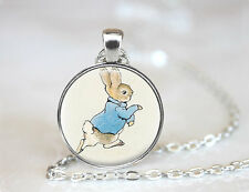 Peter Rabbit Necklace, Beatrix Potter Jewelry,Storybook Fantasy Rabbit Pendant