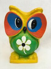 Vtg Psychedelic Yellow Owl Piggy Bank Fair Retro Hippy Flowers Psychedelic Neon
