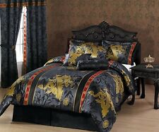Chezmoi Collection 7pc Palace Jacquard Dragon Comforter Set Queen Black/Gold/Red