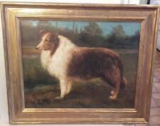 Antique Oil Painting of a Collie Dog in landscape Portrait Picture ~ early 20thc