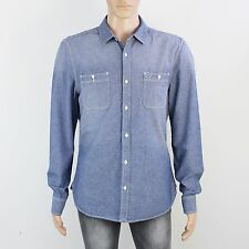 All Saints Mens Size L XL Slim Fit Blue Long Sleeve Shirt