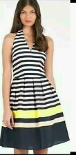 NWOT Ted Baker Candy Stripe Print Navy Pink Dress $325 Ted Sz 4 US Sz 10