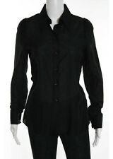 YVES SAINT LAURENT Black Cotton Long Sleeve Button Down Shirt Top EUR 36