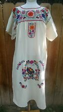 Mexican Dress Embroidered Colorful Flowers Bird L Oaxacan Peasant Huipil Manta