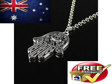 SILVER HAMSA HAND OF FATIMA NECKLACE ANTIQUE CHARM PENDANT AMULET EVIL EYE LUCKY