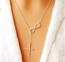 Elegant Lady Jewelry Cross Infinity Pendant Necklace Sexy Clavicle Chain Chorker