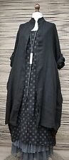 LAGENLOOK LINEN OVERSIZE AMAZING 2 PCS DOTS DRESS+LONG JACKET***BLACK***XL-XXL