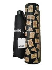 MOSCHINO Standard Size UMBRELLA Branded BLACK w/ Collectible TIN -FREE SHIPPING