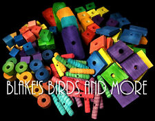 100 Bird Toy Parts Variety Assortment Med to Large Pieces- Parrots Wood Blocks