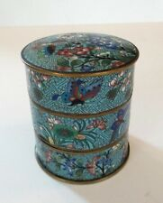 19th C. ANTIQUE CLOISONNE ENAMEL ON BRONZE 3-STACK LIDDED BOX, TURQUOISE