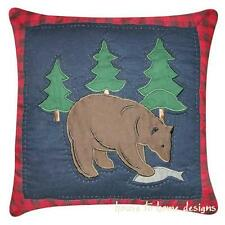 TIMBERLINE BEAR FISH PILLOW : LODGE MOUNTAIN CABIN ACCENT TOSS CUSHION